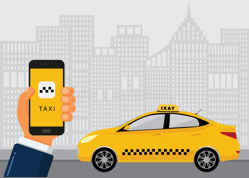 Taxi service concept. Booking taxi cab with mobile app. Hand holds the phone with taxi service and city skyscrapers with yellow car on background. Vector flat stock illustration