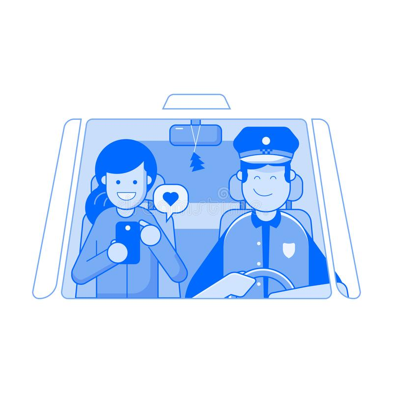 Taxi Service Concept with Driver and Passenger. Taxi service concept illustration. Smiling man driving the car with woman passenger using smartphone. Public auto royalty free illustration