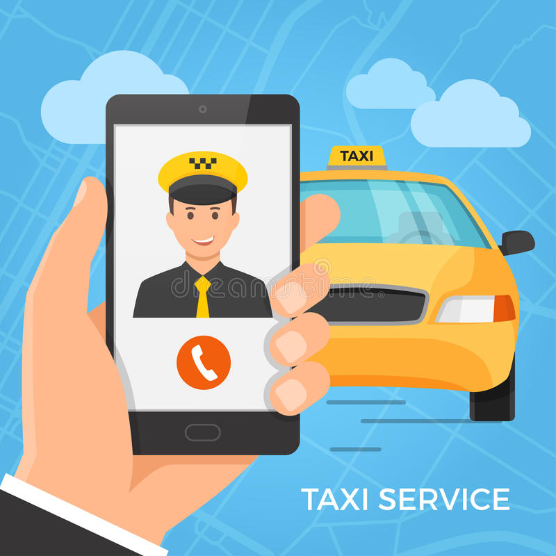 Taxi service concept. Hand holding smartphone with cheerful taxi driver on the screen. Vector illustration royalty free illustration