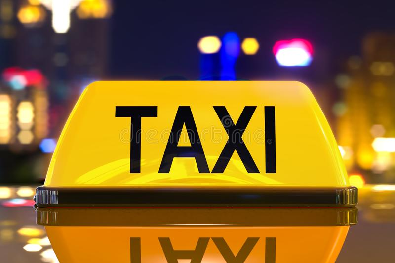 Taxi service concept, taxi sign on the night city background. 3D rendering. Taxi service concept, taxi sign on the night city background. 3D stock illustration