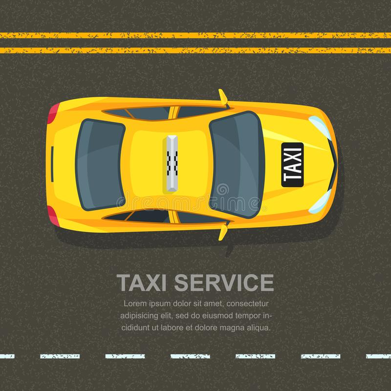 Taxi service concept. Vector banner, poster or flyer background template. Taxi yellow cab on asphalt road background. Street traffic, parking, city transport royalty free illustration