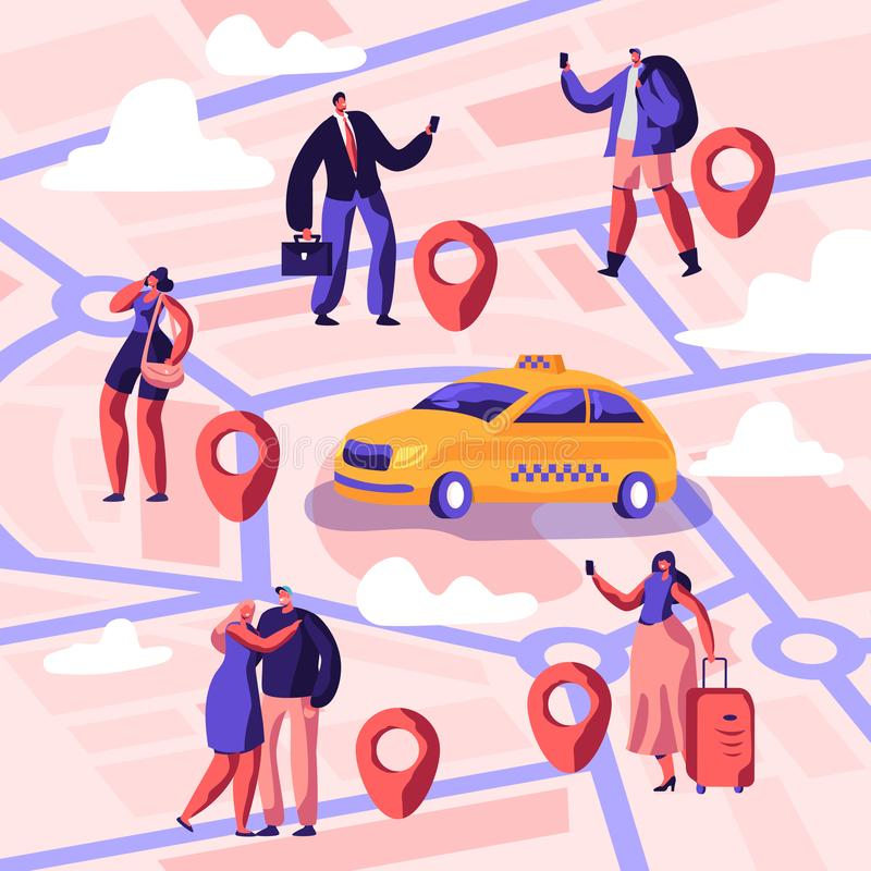 Taxi Service. Driver in Yellow Cab Waiting and Deliver Passengers with Baggage to Destination. People Ordering Taxi Car. Using Application and Catching on vector illustration