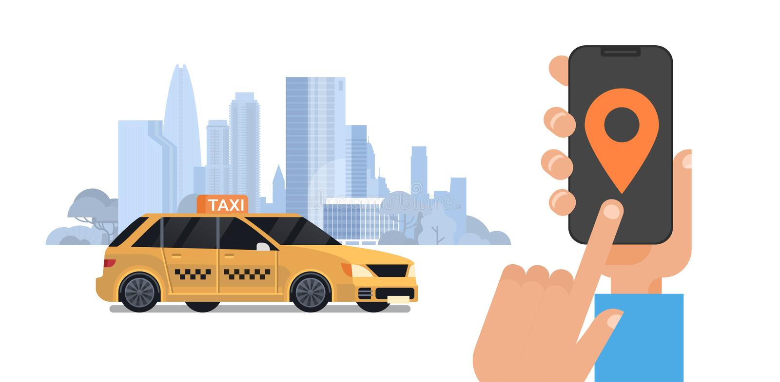 Taxi Service, Hand Holding Smart Phone Order Cab With Mobile App Over Silhouette City Background. Flat Vector Illustration vector illustration