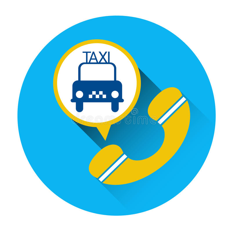 Taxi Service Icon Car Phone Call Application Button stock illustration