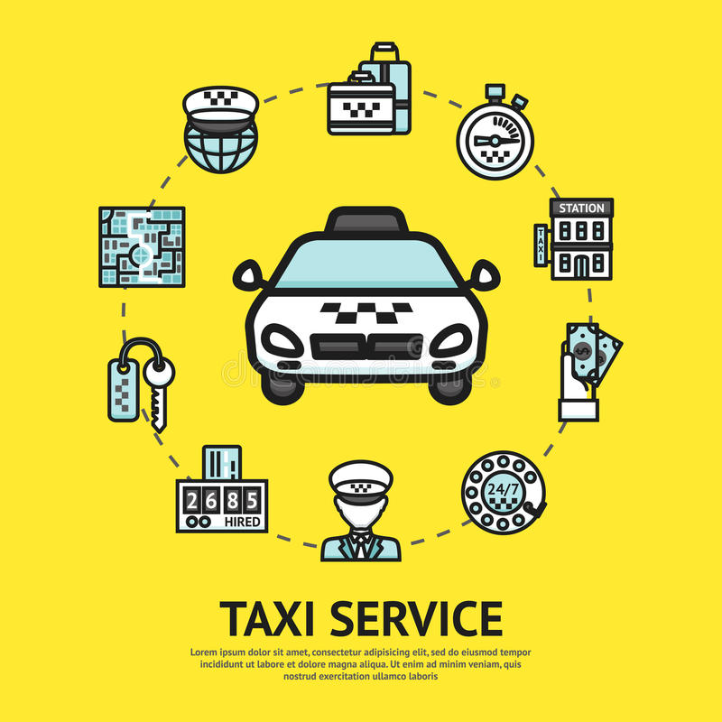 Taxi Service Illustration stock illustration
