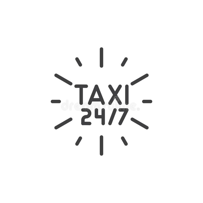24 7 taxi service line icon royalty free illustration