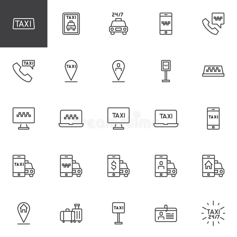 Taxi service line icons set. Linear style symbols collection, outline signs pack. vector graphics. Set includes icons as Taxi cab, Mobile taxi ordering, Driver stock illustration