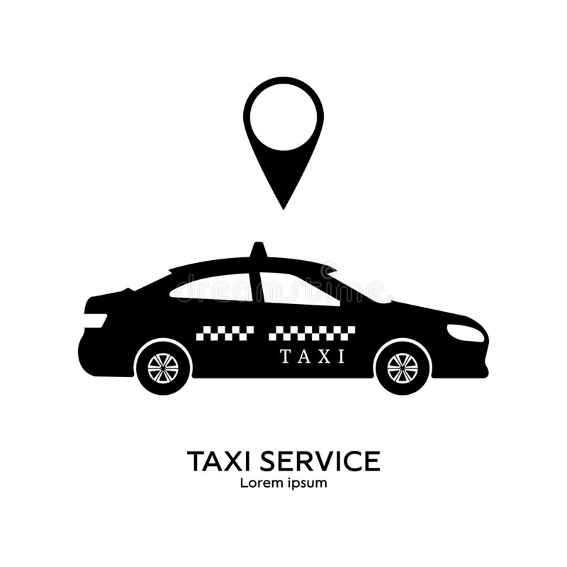 Taxi service logo template. Transportation concept. Black silhouette of taxi. Clean and modern vector illustration for design, web.  vector illustration