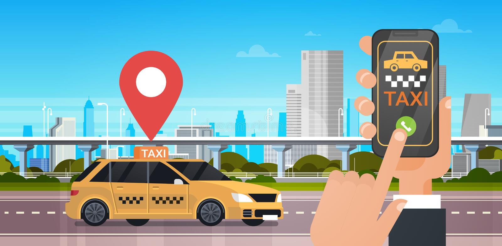 Taxi Service Online Application, Hand Holding Smart Phone Order Cab With Mobile App Over City Background. Flat Vector Illustration stock illustration