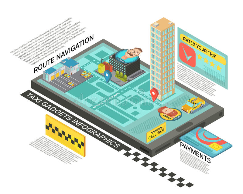 Taxi Service Online Isometric Infographics royalty free illustration