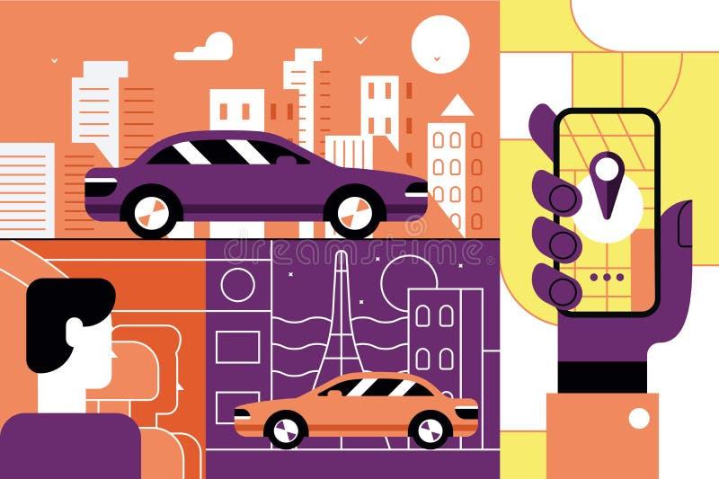 Taxi service online mobile application concept. Cab order with smartphone app. Flat. illustration vector illustration