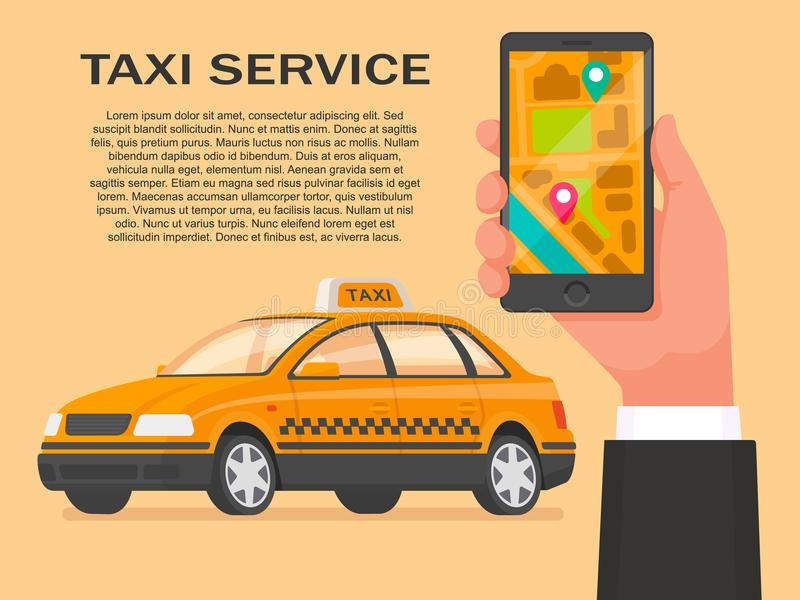 Taxi service. Order a cab through the application on your smartphone. Vector illustration in a flat style stock illustration