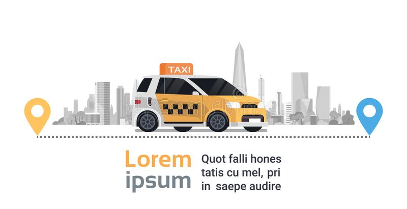 Taxi Service Order, Yellow Cab Car On Route With Gps Map Pointers Over Silhouette City Background. Flat Vector Illustration stock illustration