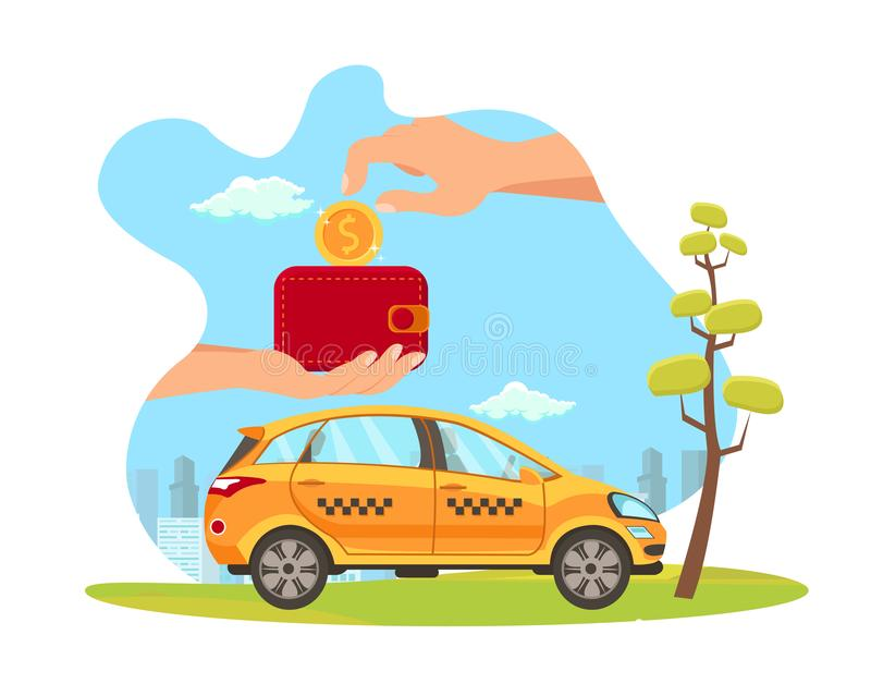 Taxi Service Payment Flat Vector Illustration. Hand Put Coin in Wallet Isolated Design Element. Automobile Rental. Car-Sharing. Banking. Loyalty Program for stock illustration