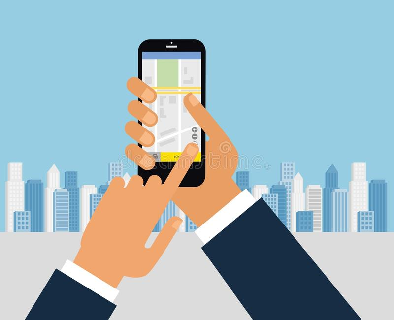Taxi service. Smartphone and touchscreen, city skyscrapers. Transportation network app, calling a cab by mobile phone concept. stock illustration