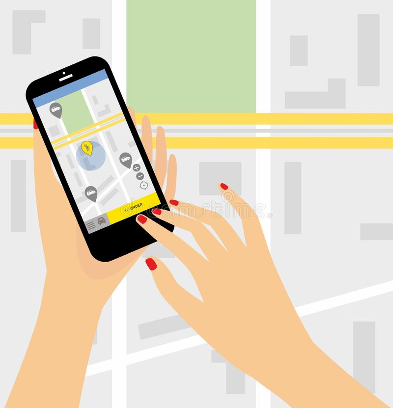 Taxi service. Smartphone and touchscreen, city skyscrapers.Transportation network app, calling a cab by mobile phone concept royalty free illustration