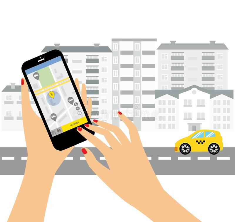 Taxi service. Smartphone and touchscreen, city skyscrapers.Transportation network app, calling a cab by mobile phone concept. Taxi service. Smartphone and vector illustration