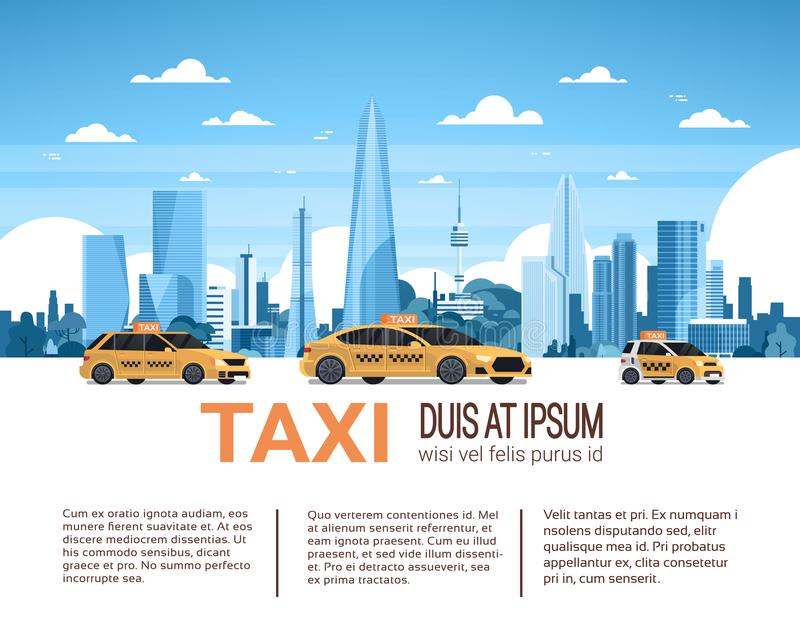 Taxi Service Template Infographic Banner With Copy Space, Yellow Cab Cars Over City Background. Flat Vector Illustration stock illustration