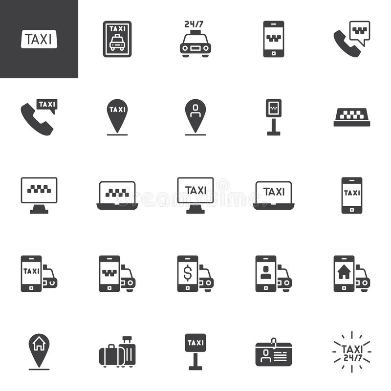 Taxi service vector icons set. Modern solid symbol collection, filled style pictogram pack. Signs, logo illustration. Set includes icons as Taxi cab, Mobile royalty free illustration
