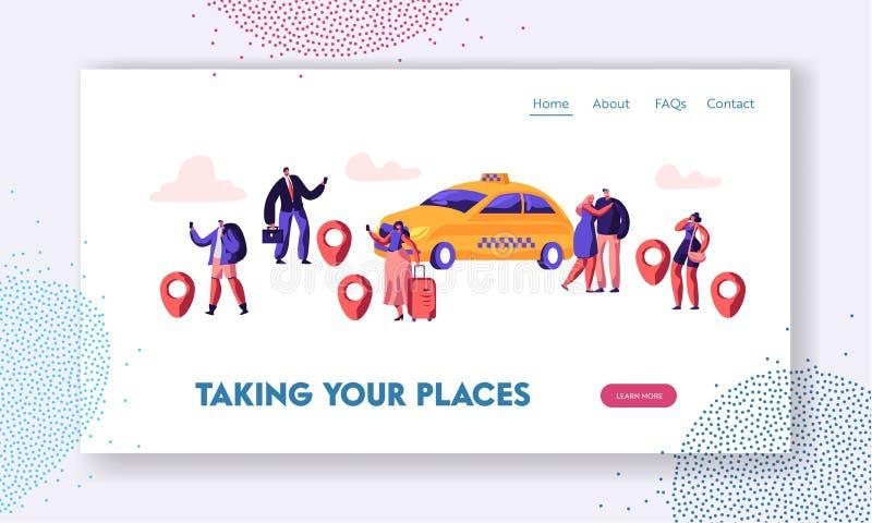 Taxi-Service-Website-Landungs-Seite, Leute-Auftrags-Taxi-Auto unter Verwendung der Anwendung und fangendes gelbes Auto auf Straße vektor abbildung