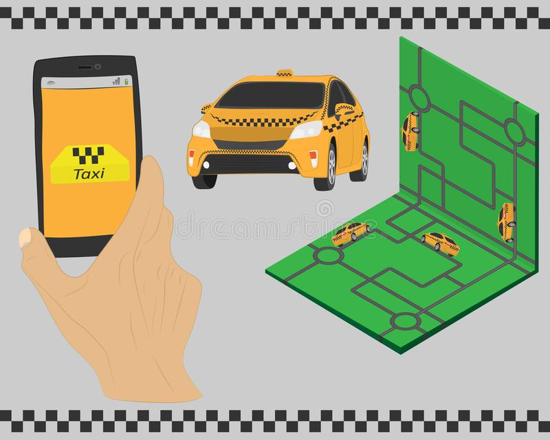 Taxi service. Yellow taxi cab. Hands with smartphone and taxi application and map. vector drawing illustration. Taxi service. the Yellow taxi cab. Hands with vector illustration