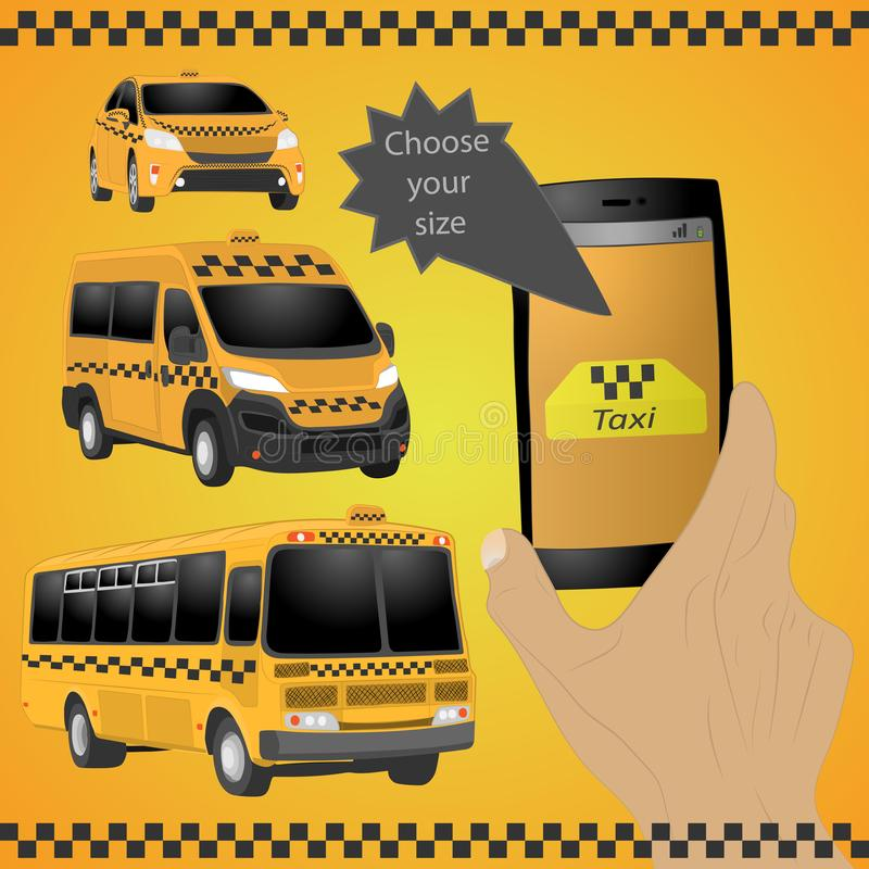Taxi service. Yellow taxi cab. Hands with smartphone and taxi application. vector drawing illustration. Taxi service. the Yellow taxi cab. Hands with smartphone royalty free illustration