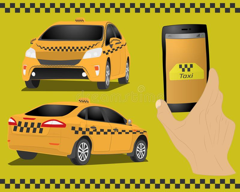 Taxi service. Yellow taxi cab. Hands with smartphone and taxi application. vector drawing illustration. Taxi service. the Yellow taxi cab. Hands with smartphone stock illustration