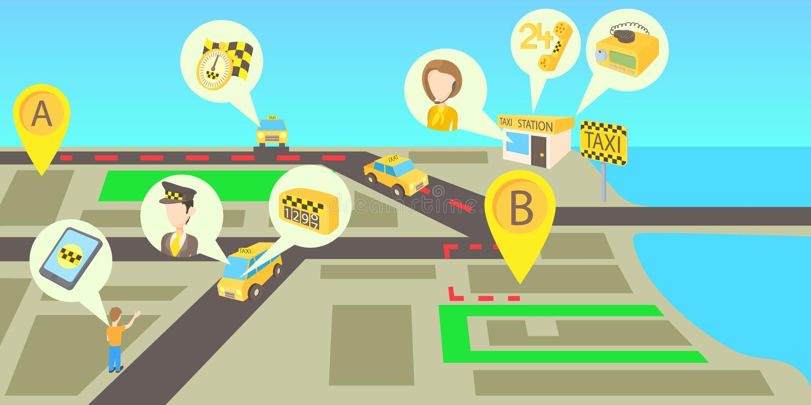 Taxi services horizontal banner, cartoon style stock illustration
