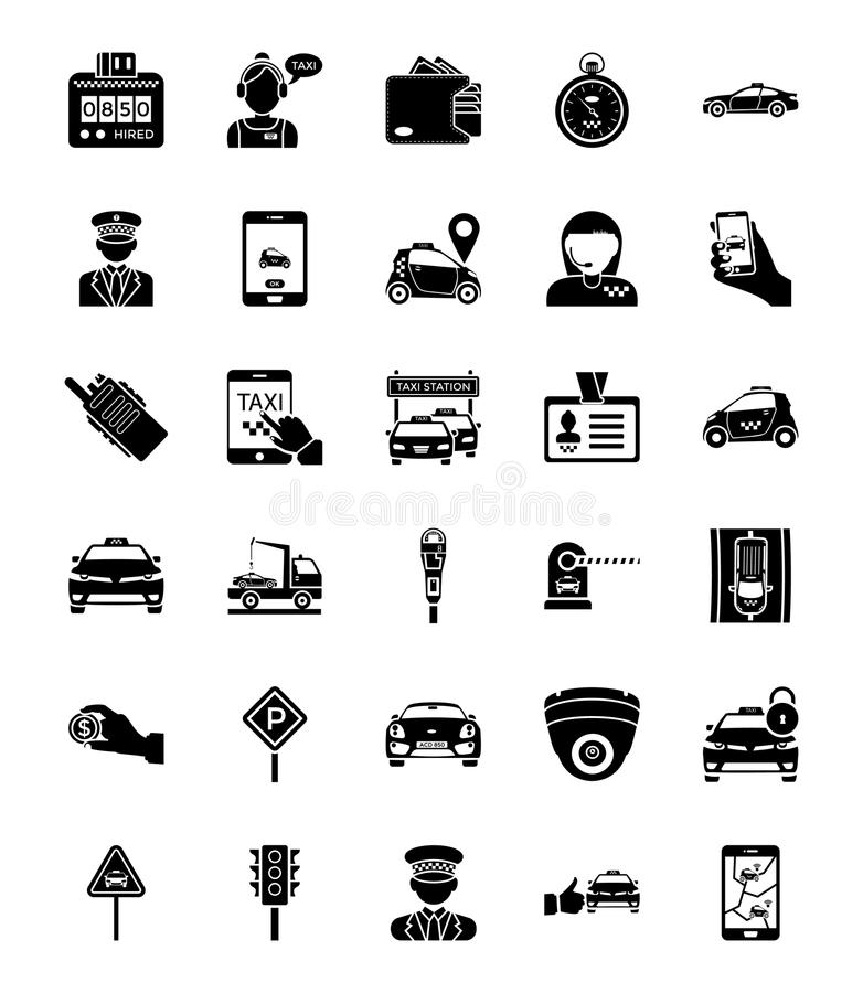 Taxi Services Solid Icons. A pack filled with roadside symbols, navigation apps, map devices, dressed chauffeurs, parking sign, no parking signs, payments vector illustration