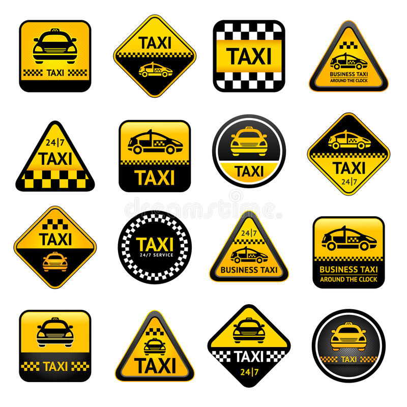 Taxi set buttons royalty free illustration