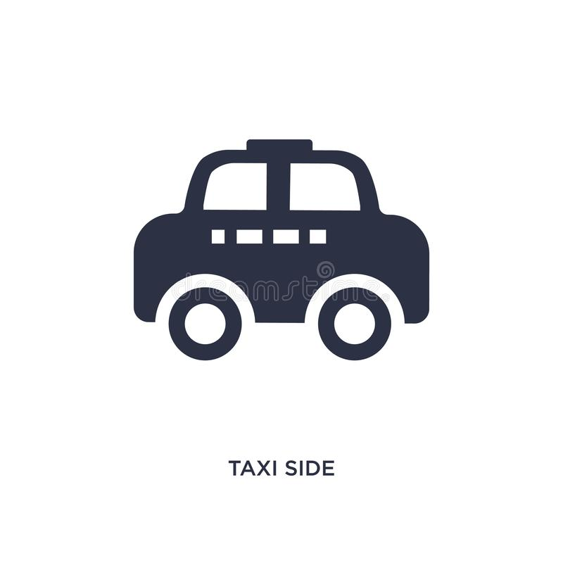 Taxi side icon on white background. Simple element illustration from mechanicons concept. Taxi side icon. Simple element illustration from mechanicons concept royalty free illustration