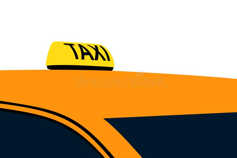 Taxi sign on the car roof stock illustration
