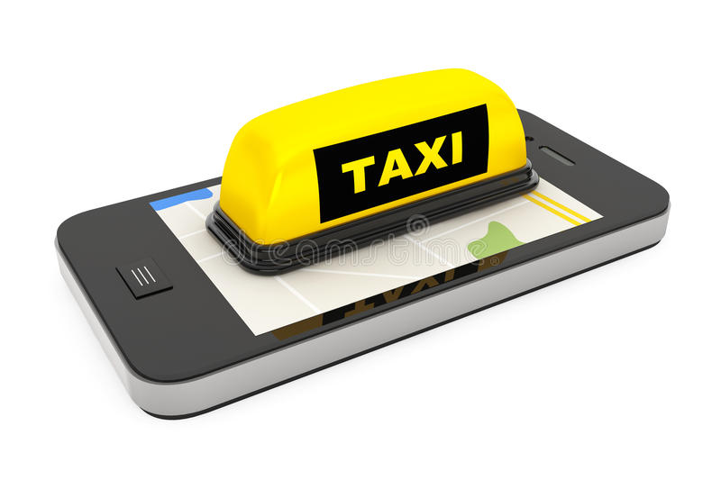 Taxi Sign with Mobile Phone and Map. On a white background royalty free illustration