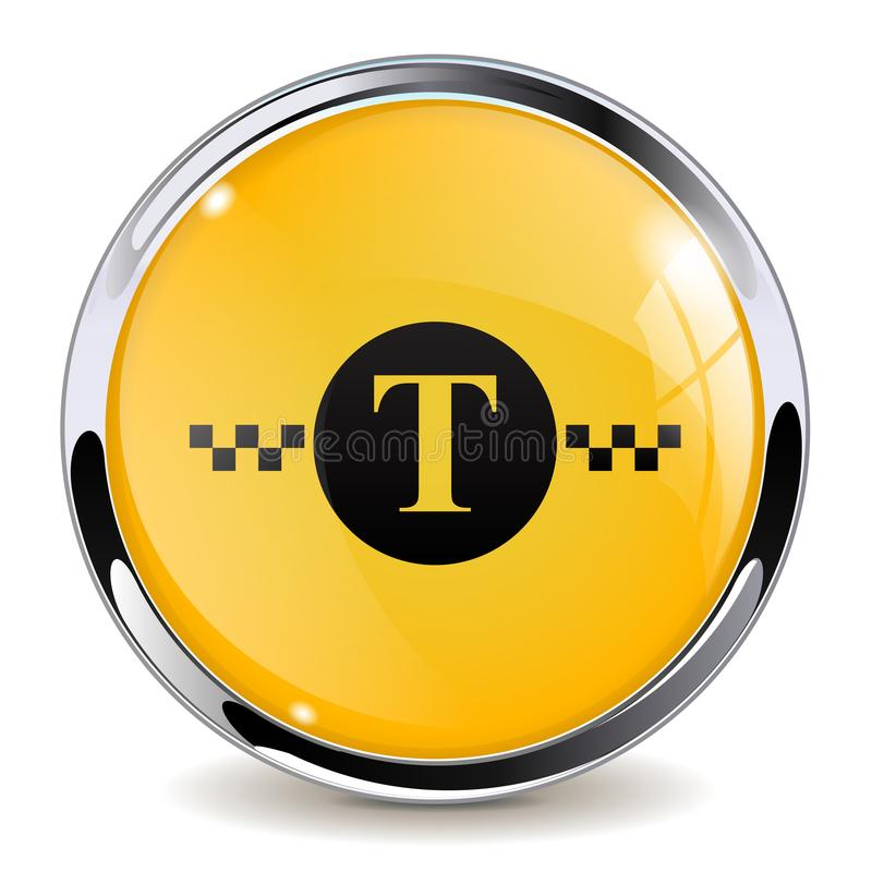 Taxi sign. Yellow black 3d button stock illustration