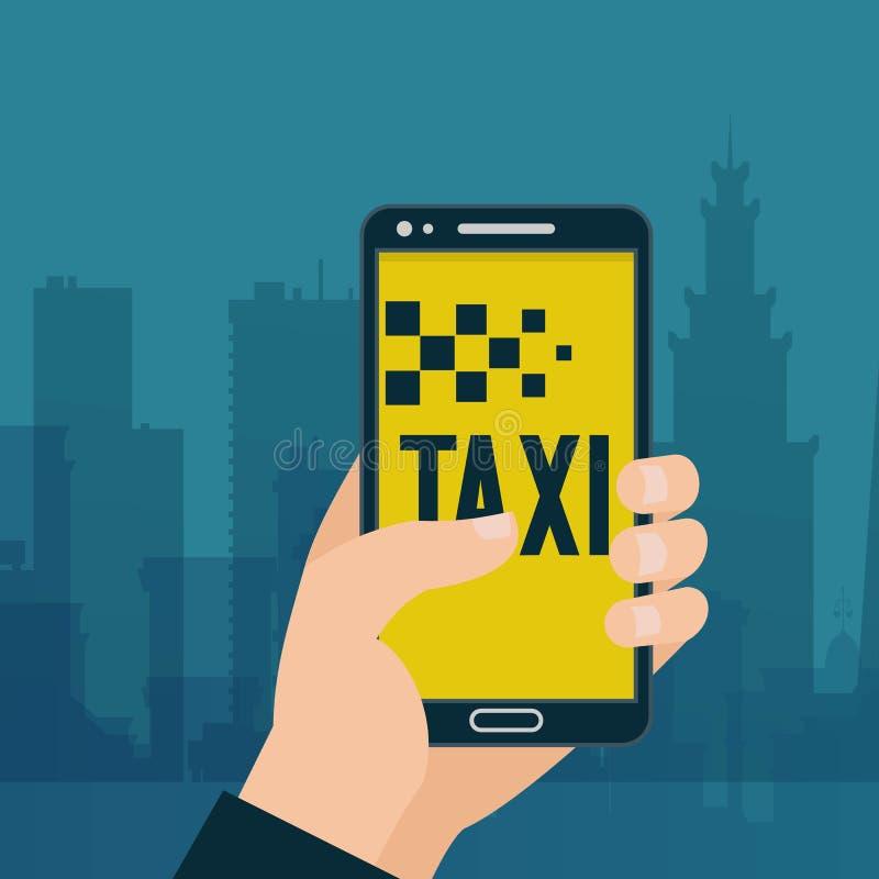 Taxi som beställer i handphonebaner Annons för dela för bil och för hyraservice Handinnehavsmartphone med den mobila appen Online royaltyfri illustrationer