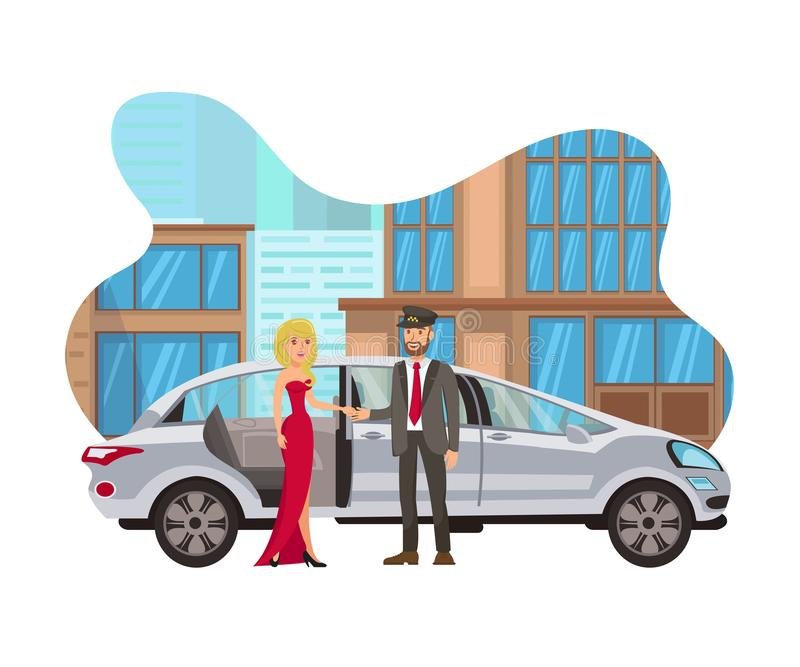 Taxi for Special Event Flat Isolated Illustration. Young Woman in Evening Dress, Cab Driver with Limousine Cartoon Characters. Chauffeur Opening Rear Door to vector illustration