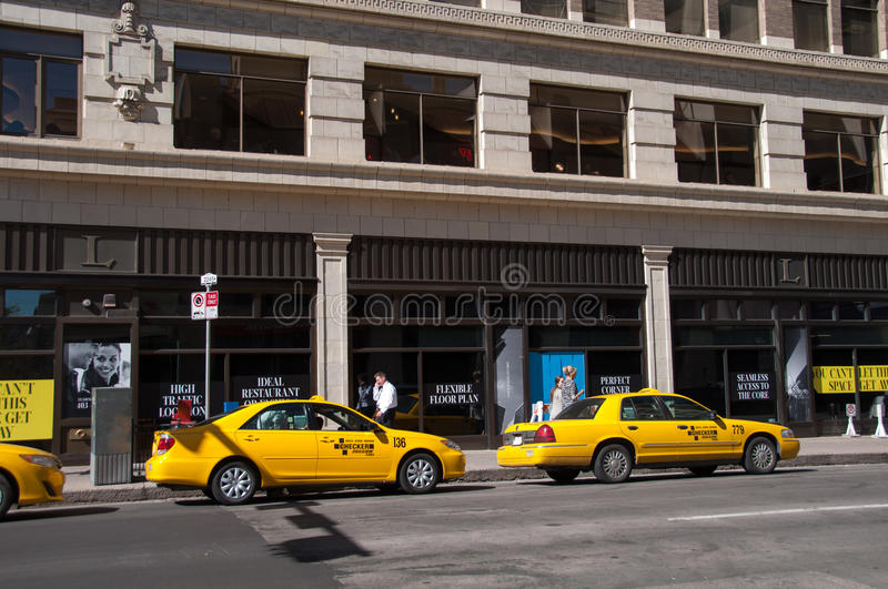 Taxi stand, Calgary royalty free stock image