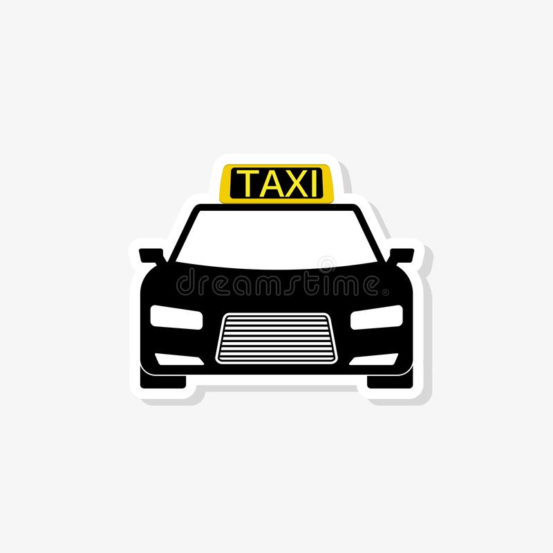 Taxi sticker isolated on white background. Taxi icon in trendy design style stock illustration