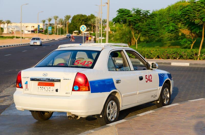 Taxi on street in Hadaba district, Sharm El Sheikh, Egypt royalty free stock photos