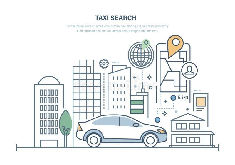 Taxi-Suche Einrichtungsauto für Reise um Stadt, on-line-Taxi stock abbildung
