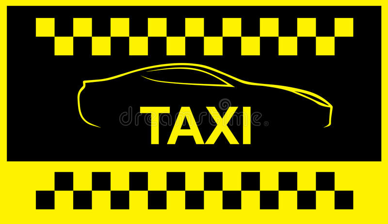 Taxi symbol, and car on the background vector illustration