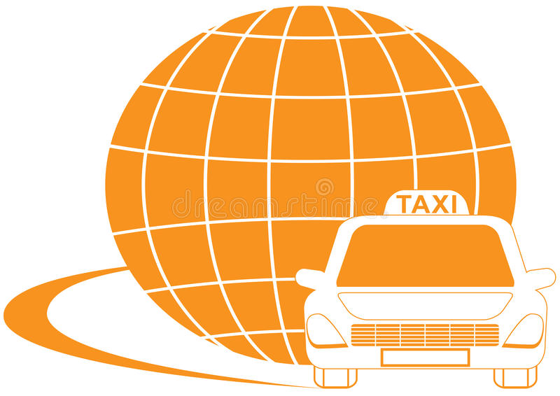 Taxi symbol with road, cab and planet silhouette stock illustration