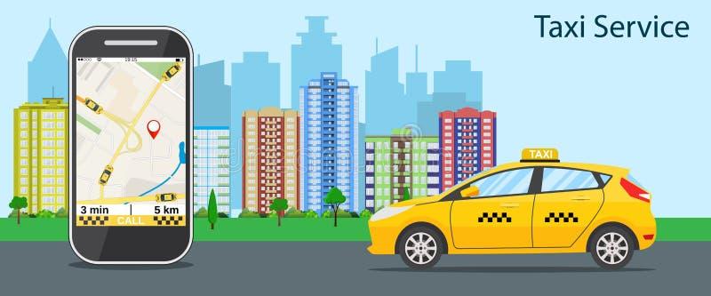 Taxi taksówka, telefon komórkowy z mapą royalty ilustracja
