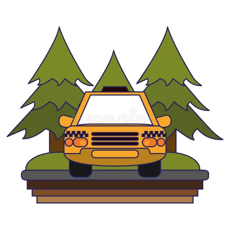 Taxi taksówka w autostradzie ilustracji