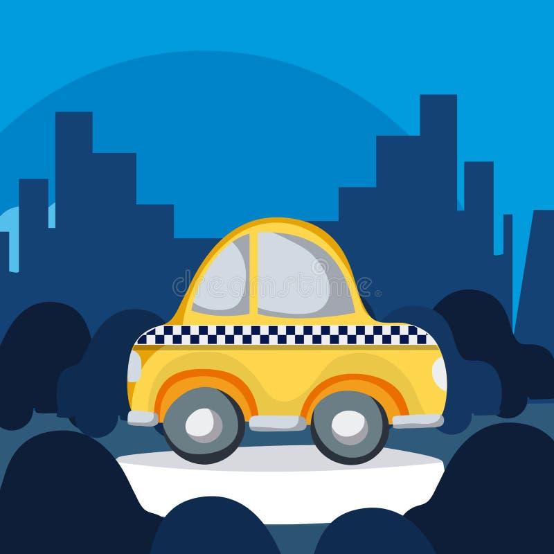 Taxi taksówka w mieście ilustracji