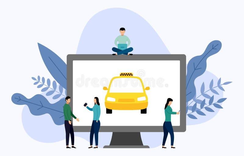Taxi taksówka z ludzkimi pojęciami ilustracja wektor