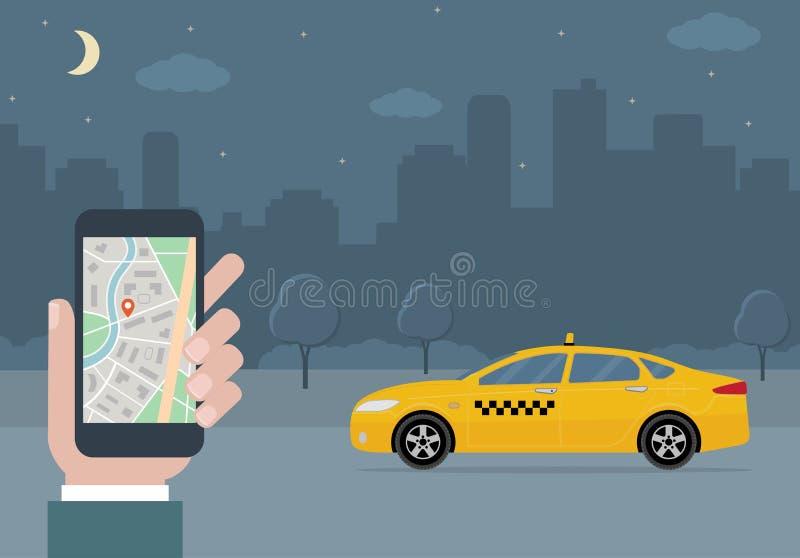 Taxi telefon komórkowy z mapą na miasta tle i taksówka ilustracja wektor