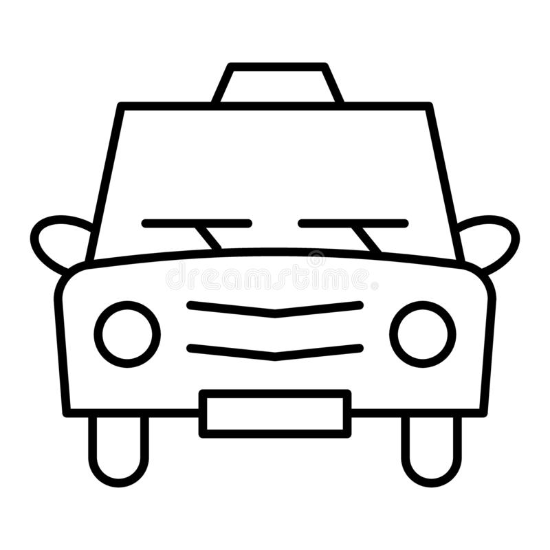 Taxi thin line icon. Cab vector illustration isolated on white. Car outline style design, designed for web and app. Eps. 10 royalty free illustration
