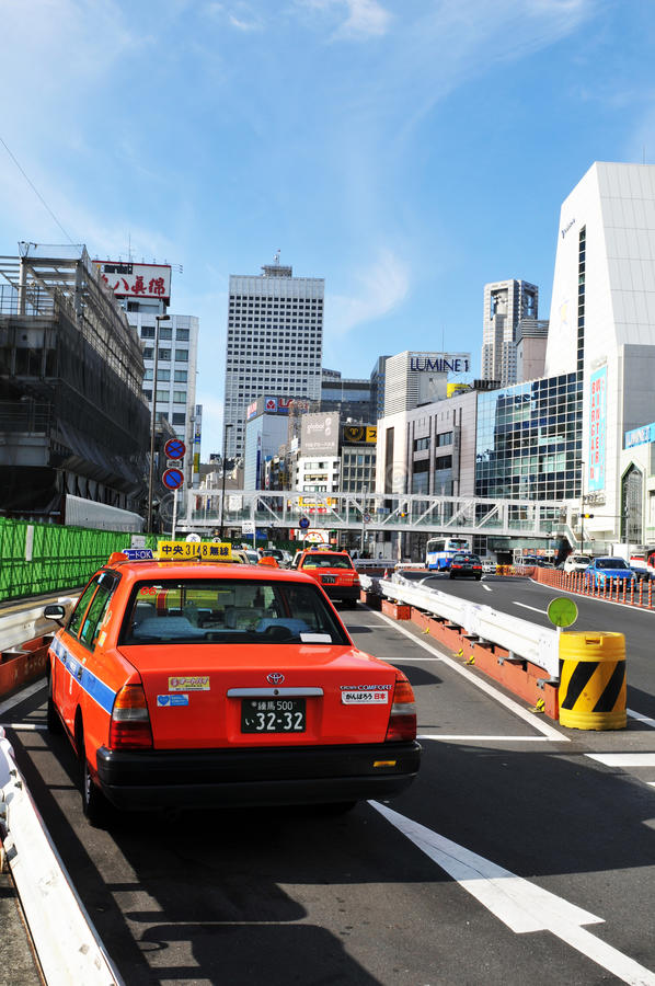 Taxi in Tokyo, Japan stock photo