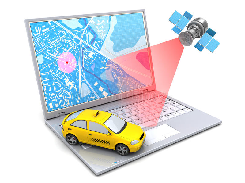 Taxi tracking. 3d illustration of taxi location tracking with computer and satellite navigation vector illustration